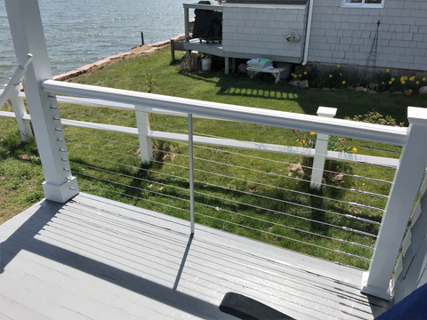 Swageless Terminals and Turnbuckles white posts cable railing