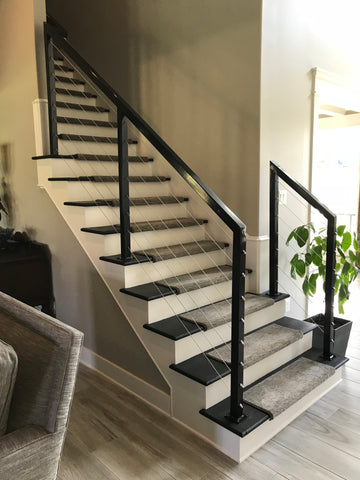 stainless steel cable railing stairs black powder coated metal steel post