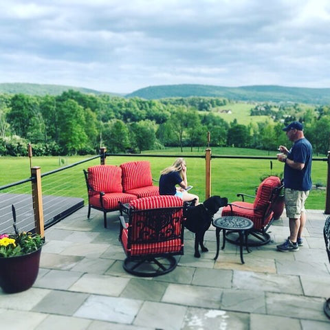 """cable deck railing overlooking field 1/8"""" stainless steel cable"""