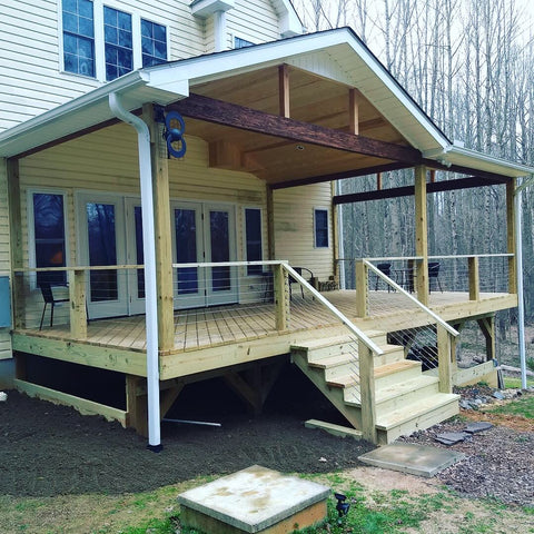 cable deck railing with swageless hardware large posts
