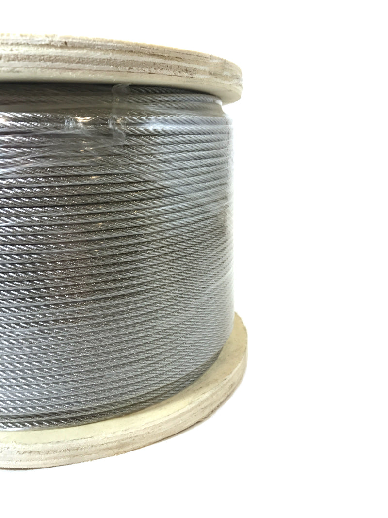 1000 feet of 7x7 stainless steel wire rope cable on wooden reel