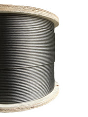 250 feet of stainless steel wire rope cable on wooden reel