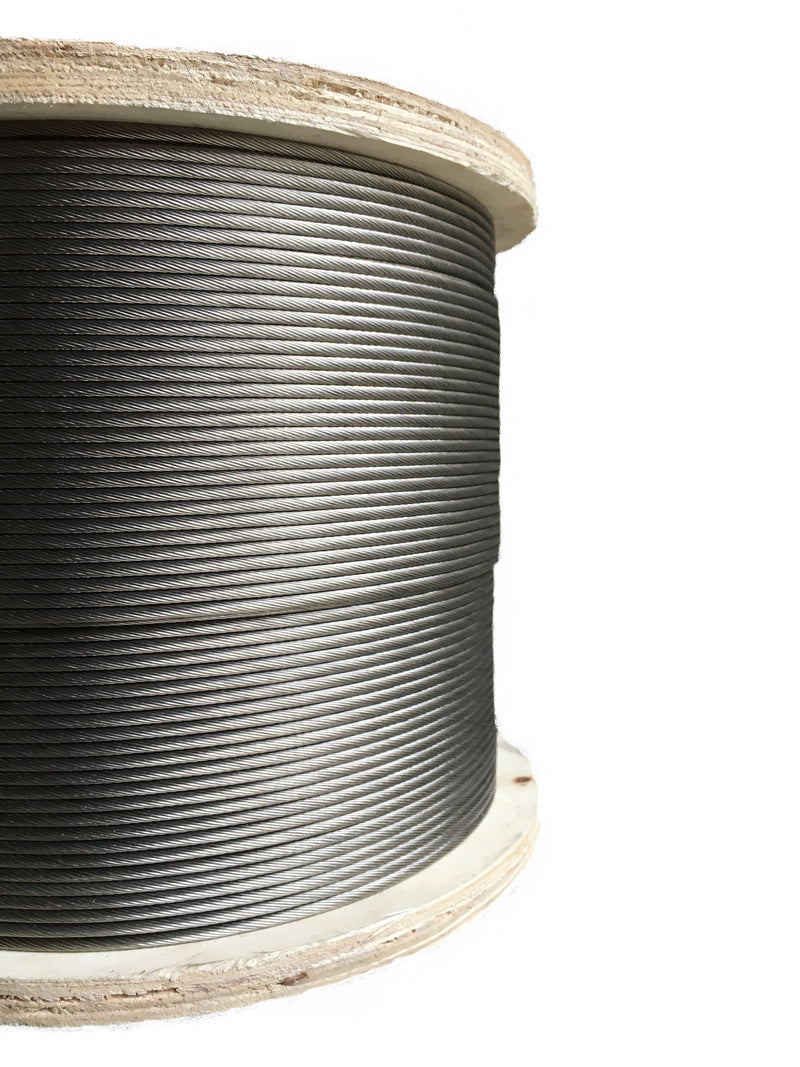 500 feet of stainless steel wire rope cable on wooden reel