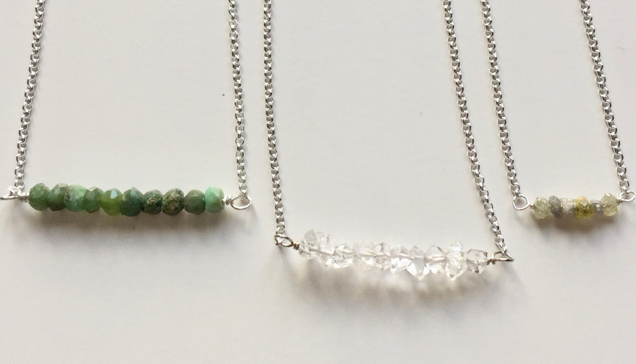 Herkimer diamonds. Raw Diamonds. Semi precious gemstones. Bar Necklaces with gemstones