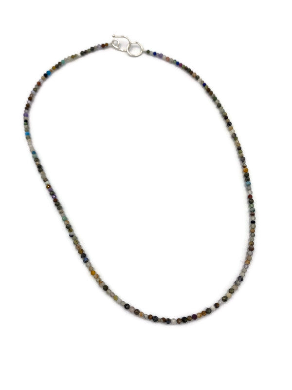 Multi faceted bead choker necklace