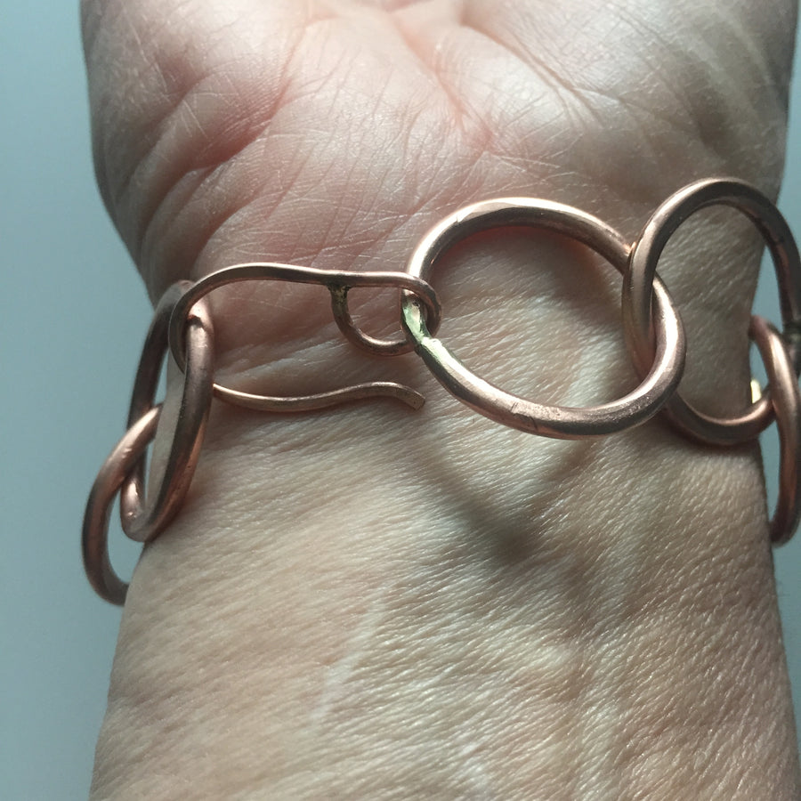 copper circle bracelet, handmade clasp, one of a kind.