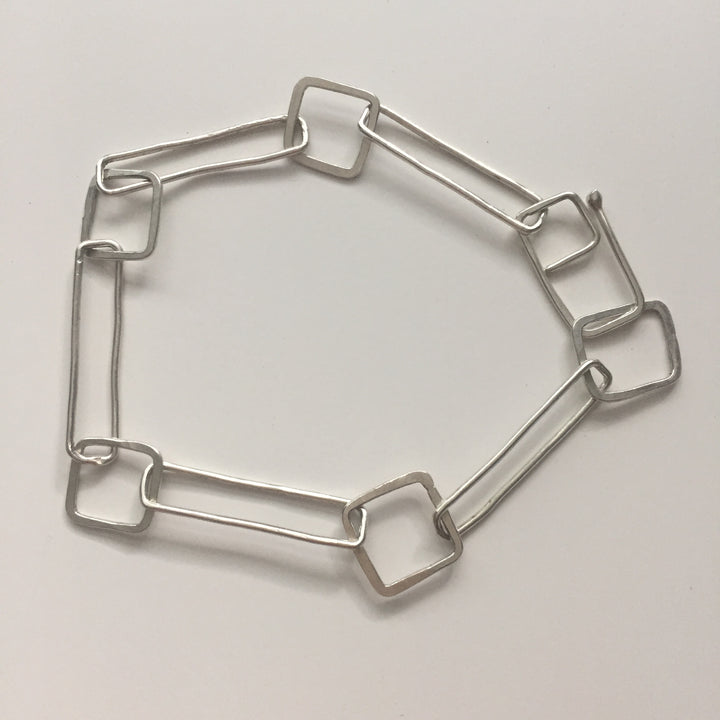 Soul Sister hammered square and rectangle sterling silver bracelet