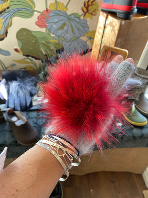 Red fur on fingerless gloves adds interest to the bracelet that can be a  memorial pet bracelet, mom bracelet, stacking bracelet