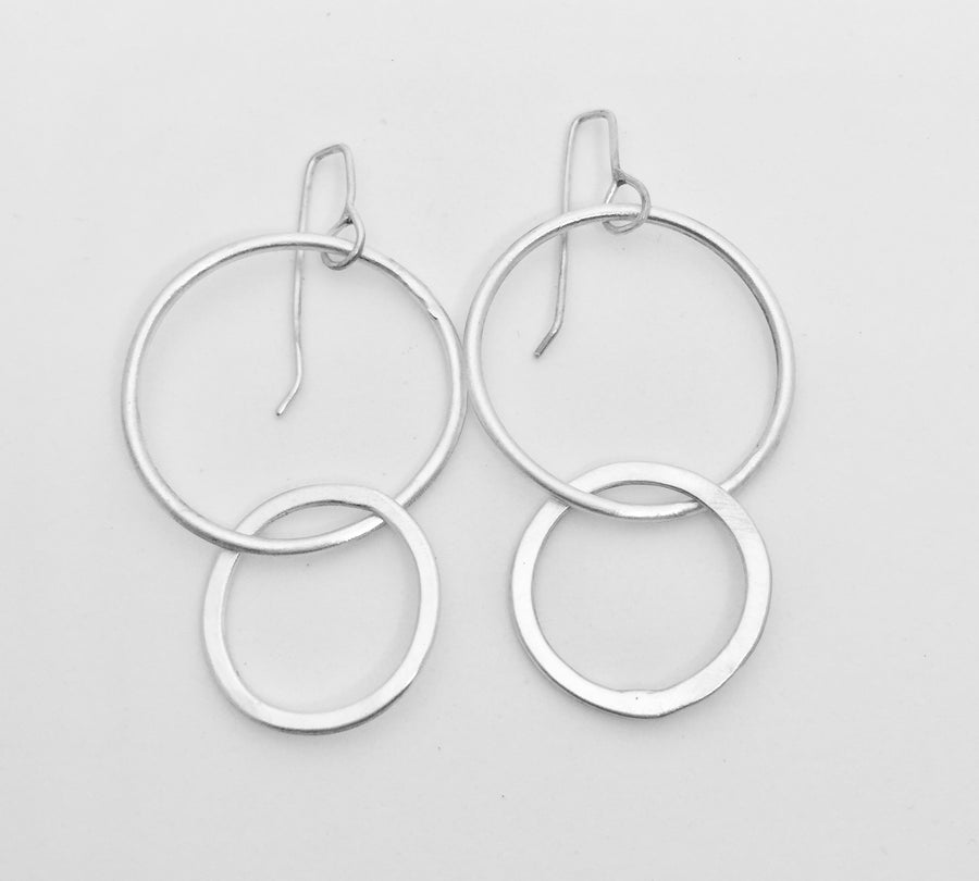 Sliver Double Circle Earrings