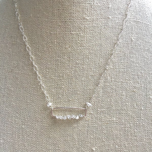 Herkimer Diamond Bar Pendant, Sterling silver, perfect for girlfriend, bridesmaid gift
