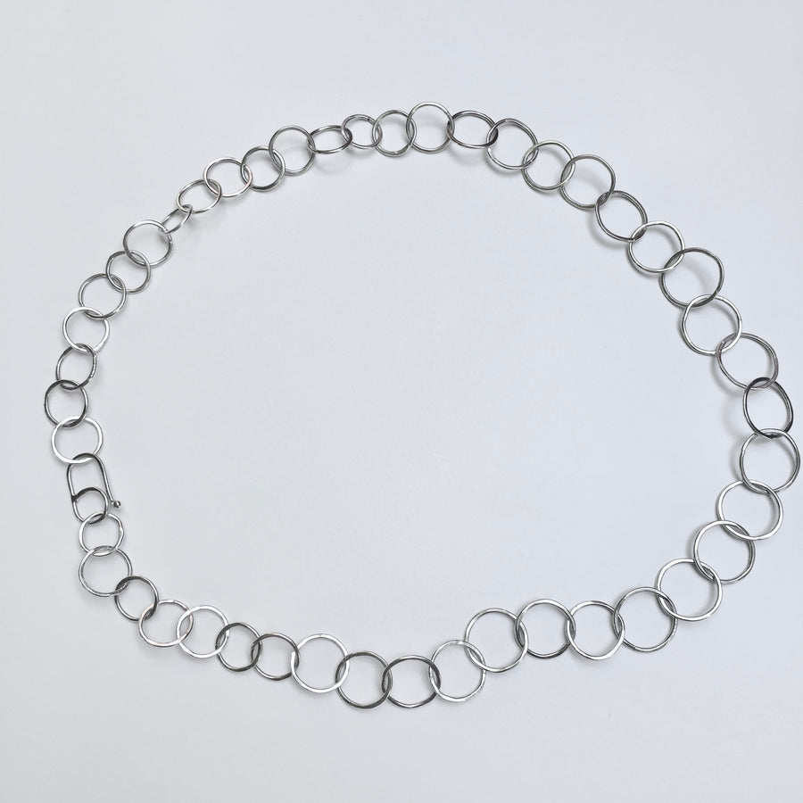 Circle Necklace, argentium sterling silver, hand formed, hammered. Handmade clasp