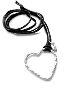 Perfect ValentineHeart Necklace on a leather cord | DK Originals Jewelry