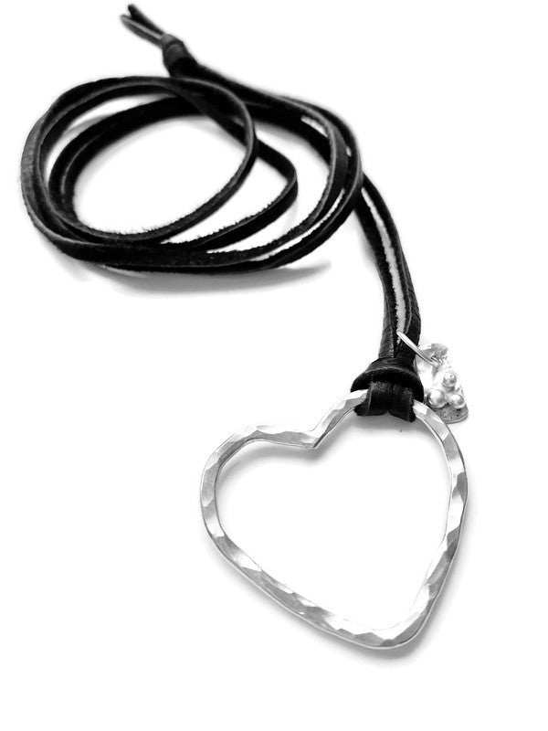 Perfect Valentine's Day Present! Heart Necklace on a leather cord | DK Originals Jewelry