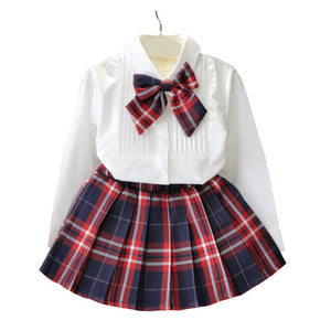 White Blouse and Plaid Skirt Set