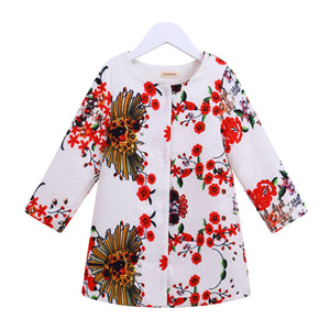 Flower Printed Jacquard Trench Coat