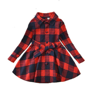 Plaid Long Sleeve Dress