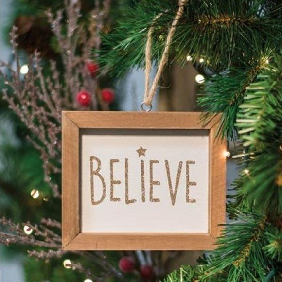 Glitter Believe and Peace Ornaments or Sill Sitters
