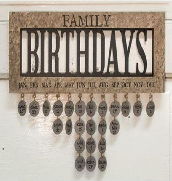 Framed Family Birthday and Anniversary Calendar