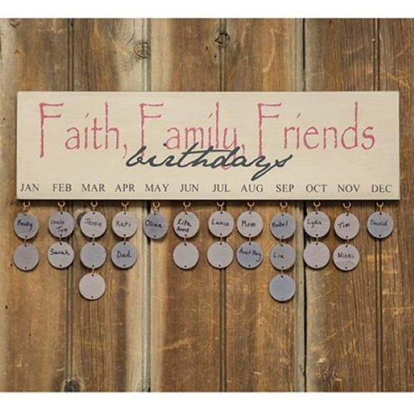 Faith Family Friends Birthday Calendar
