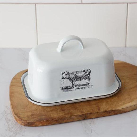 Cow Designed Covered Enamel Butter Dish - Chickadee Way