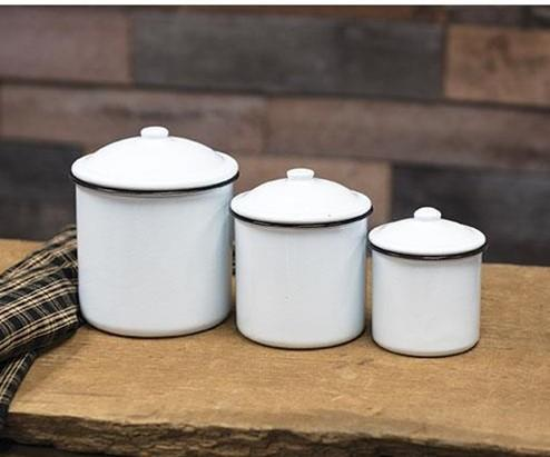 Enamel Canisters - Set of 3