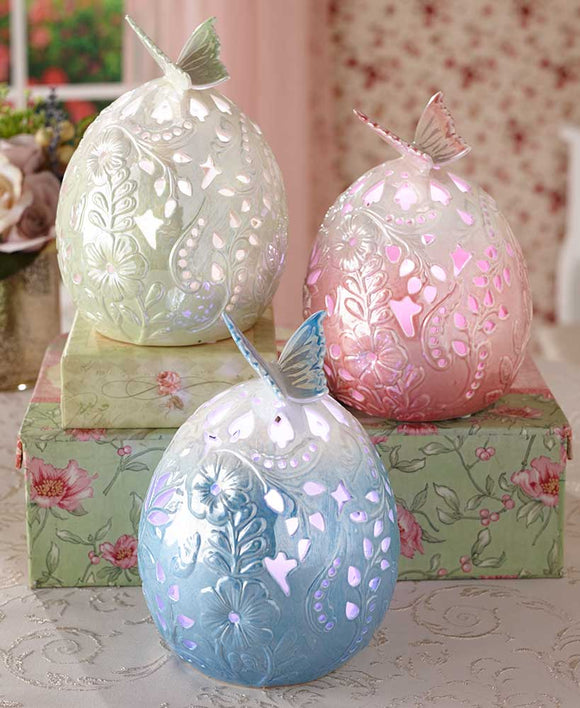 Porcelain Butterfly LED Eggs