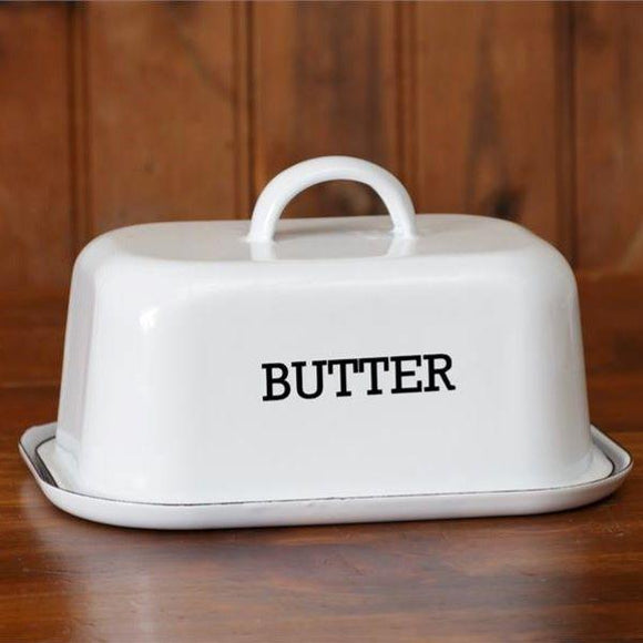 Covered Enamel Butter Dish - Chickadee Way