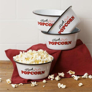 Enamel Popcorn Bowl Set