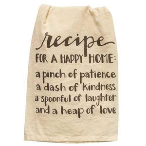 Recipe For a Happy Home Dish Towel - Chickadee Way