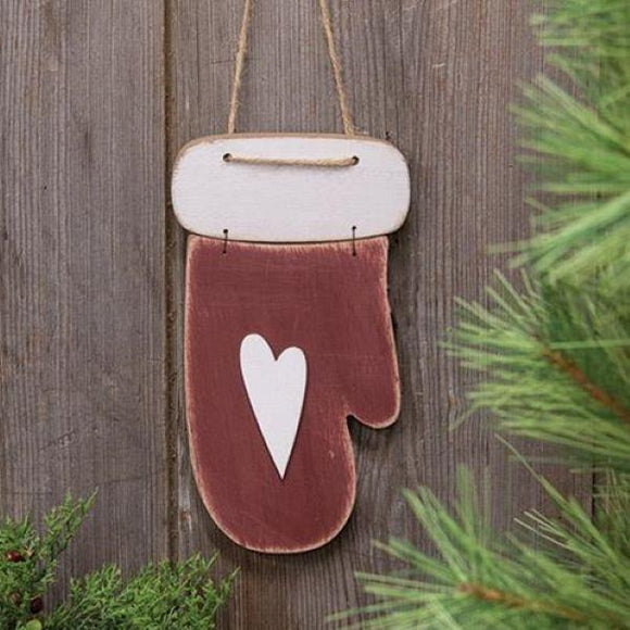 Distressed Wooden Mitten Ornament - Chickadee Way