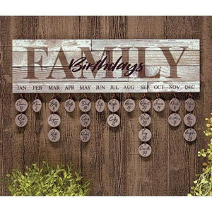 White Washed Family Birthday Calendar