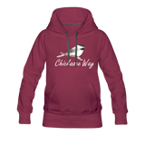 Chickadee Way Hoodie White Lettering - burgundy