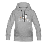 Chickadee Way Hoodie White Lettering - heather gray