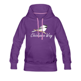 Chickadee Way Hoodie White Lettering - purple