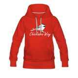 Chickadee Way Hoodie White Lettering - red