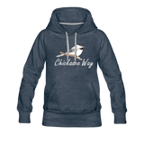 Chickadee Way Hoodie White Lettering - heather denim
