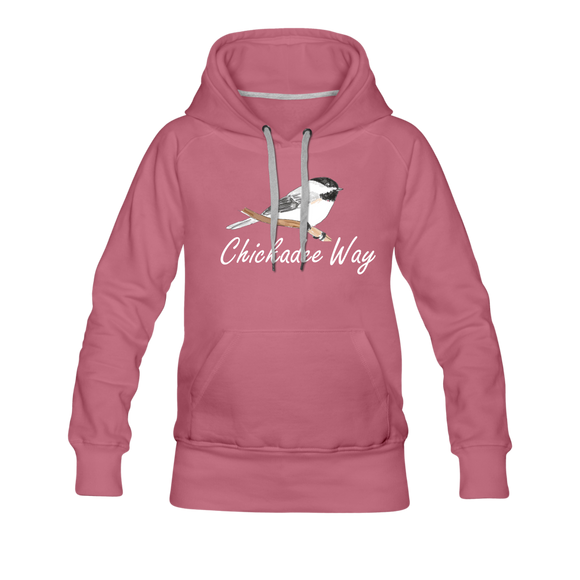 Chickadee Way Hoodie White Lettering - mauve