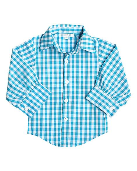 Turquoise Gingham Dress Shirt