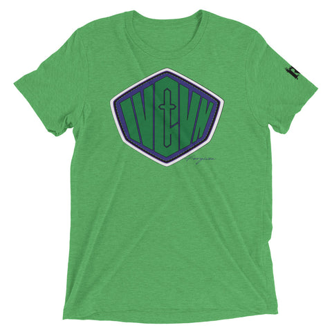 """Superhero SMASH"" Unisex short sleeve t-shirt(Green & Purple design)"
