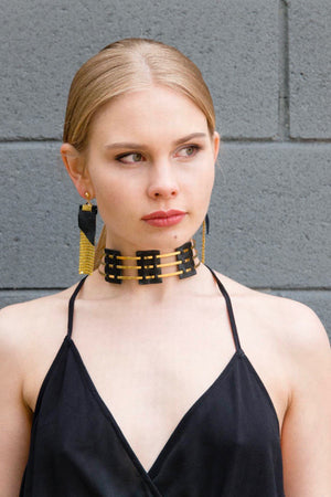 ANWAR COLLAR - (gold or silver, black or blue leather)