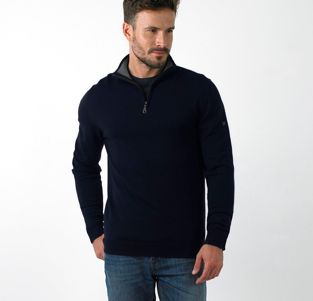 Performance Merino Sweater – Hardvark Navy Revelstoke Merino Wool Half Zip Sweater