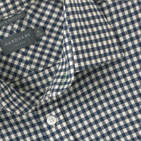 navy gingham Hardvark merino wool Voyager shirt - collar close up