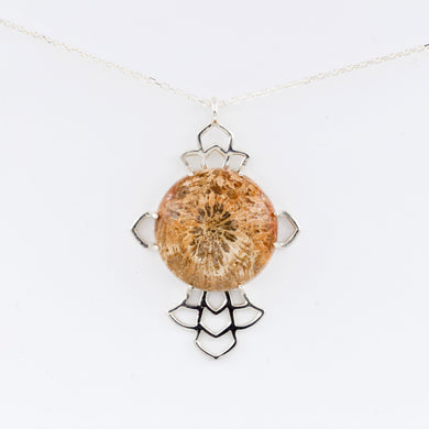 Fossil Coral Flower Pendant