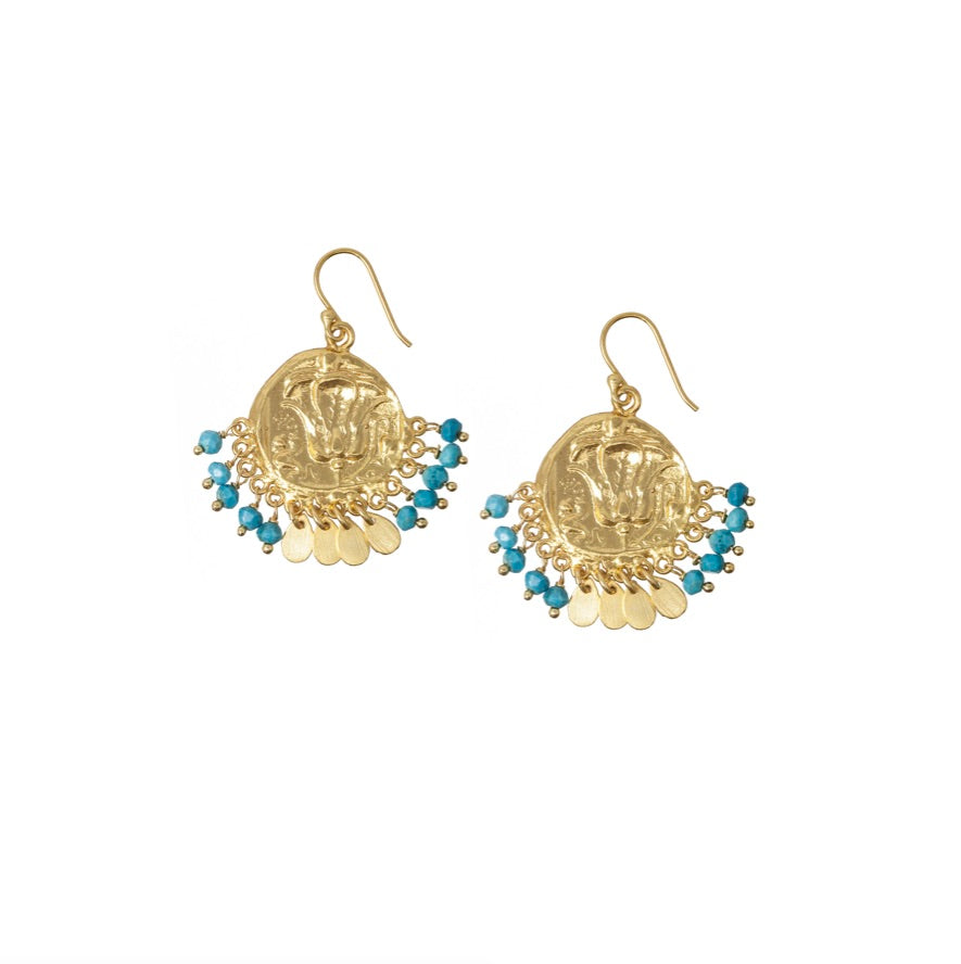Lily Beaded Coin Earrings in turquoise