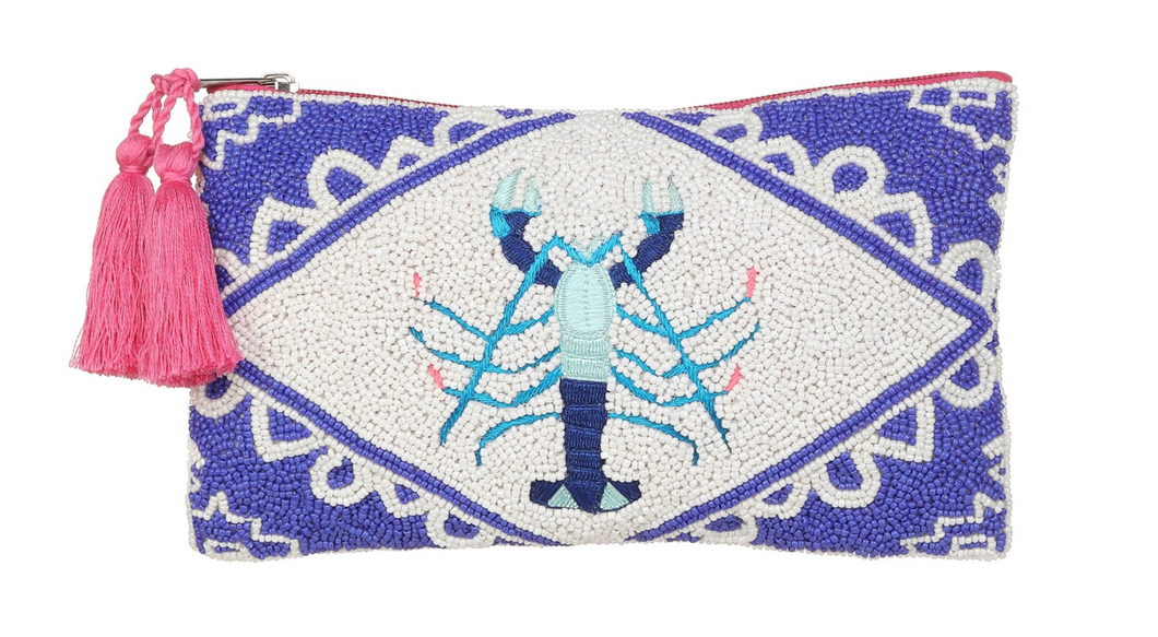 Beaded Lobster Pouch