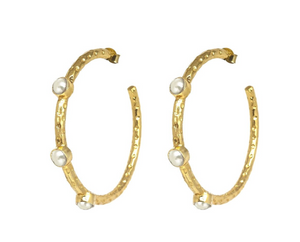 Cruise Gemstone Hoop Earrings in Pearl