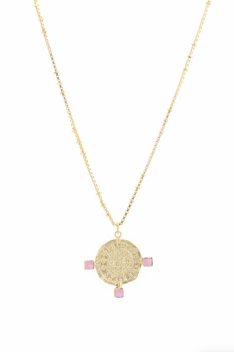 Roman Coin Necklace in Pink