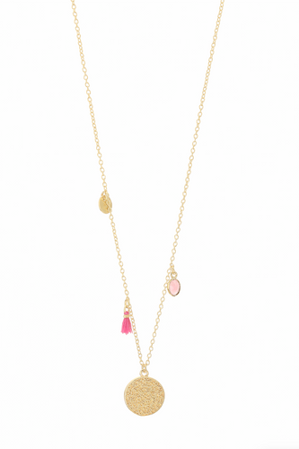 Calis Charm Necklace in Pink