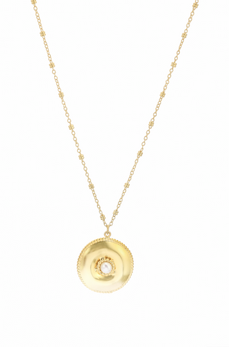 Ocean Whirlpool Disc Necklace in Pearl