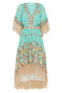 Hendrix Tasseled Dress in Sky